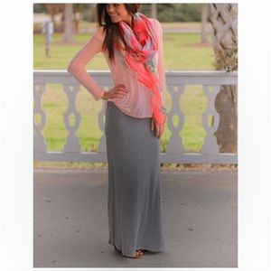 Gray Fold Over Waist Maxi Skirt